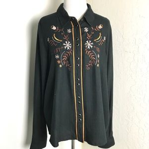 Shyanne Western Pearl Snaps Embroidered Shirt L